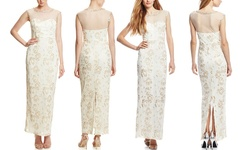 Sue Wong Sheer Neck Illusion Gown - Ivory