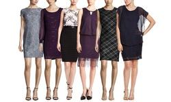 Scarlett Women's Sleeveless Lace Drape Dress with Fringe - Wine - Size: 10