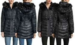 Kensie Women's Belted Down Coat with Faux Fur Trim - Black - Size: Xsmall