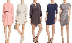 Halston Heritage Long Sleeve Belted Shirtdress - Mist/White - Size: Medium