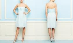 Donna Morgan Women's Strapless Cocktail Dress - Ocean Spray - Size: 8