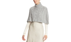 Catherine Malandrino Women's Turtle Neck Cable Knit Cape - Noir- Size: P/S