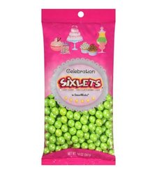 Casey Ann's Candies Shimmer Sixlets - Lime Green - 14 Oz
