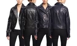 Soia & Kyo Women's Leather Jacket with Zipper Details - Black - Size: XS