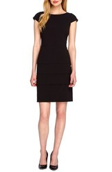 Tahari ASL Women's Tiered Bi Stretch Sheath Dress - Black - Size: 14