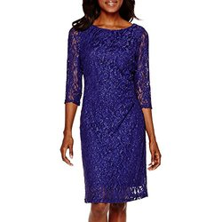 Scarlett Women's Glitter Lace Sheath Dress - Purple