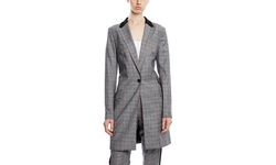 L A M B Women's Glencheck Wool Topper Coat - Black/Ivory - Size: 8