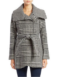 Jessica Simpson Women's Plaid Wool Blend Jacket - Black - Size: Medium