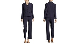 Le Suit Women's Three Button Two Tone Pant Suit - Dark Plum - Size: 8