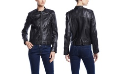 Marc New York Women's Randy Structured Leather Jacket - Black - Size: XS