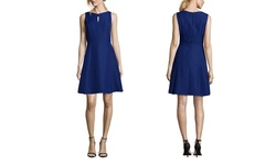 Tahari Arthur S Levine Women's Round Neck Dress - R Blue/Black - Size: 12