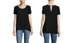Lush Women's Short Sleeve Flowy Top - Black - Size: Small