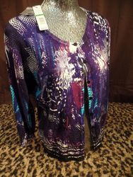 JOSEPH A Women's Space Snake Blue Knit Cardigan Shirt - Purple - Petite L