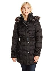 Betsey Johnson Puffer Coat w/ Faux Fur Trim - Black - Size: XLarge