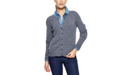 Indulge Cashmere Crewneck Button Front Cardigan - Grey- Size: Large