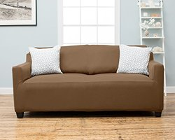 Home Fashion Dawson Twill Strapless Slipcover - Toffee - Size: Sofa