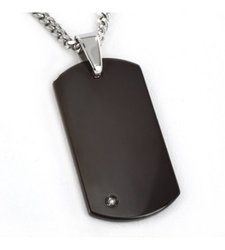 "Crucible 0.01 Carat T.W. Diamond Dog Tag Pendant with 24"" Curb Chain"