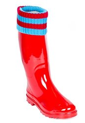 Rain Boots With Mock Sock Cuff - Red/Blue - Size: 6
