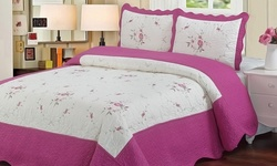 3-Piece Laura Lace Embroidered Quilt Set - Pink - Size: King
