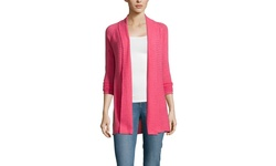 Forte Women's Cashmere Ribbed Front Cardigan - Cabin Rose - Size: M