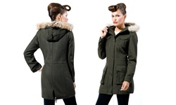 Marc New York by Andrew Marc Women's Aviator Coat - Olive - Size: 8