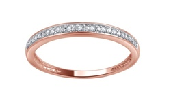 Brilliant Diamond 10K Solid Gold Diamond Accent Band - Rose Gold - Size: 6