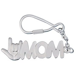I Love You MOM Keychain - Matte Silver