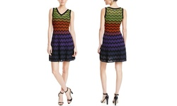 M Missoni V-Neck Knit Dress - Multi - Size: 14