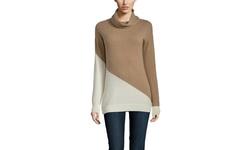 Indulge Cashmere Women's Turtleneck Sweater - Camel/Ivory - Size: Large
