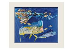 "Guy Harvey Double Matted Mini Print - Dolphin Summer - 11"" x 14"""