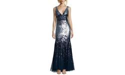 Alberto Makali Women's Plunge Neck Sequin Gown - Navy - Size: 4