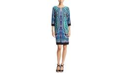 Emma & Michele Women's Printed Shift Dress - Blue/Black - Size: Medium