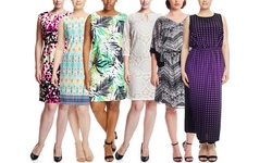 Emma & Michele Women's Sleeveless Multi Printed Dress - Blue - 3X