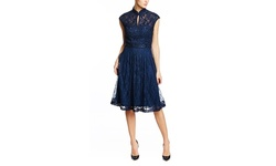 Sue Wong Women's Cap Sleeve Mock Neck Cocktail Dress - Navy - Size: 12