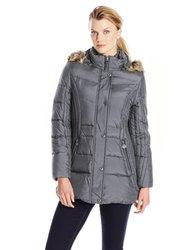 Anne Klein Women's Down Coat With Faux Fur Trim Hood - Slate - Size: Large