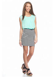 Speechless Belted Blouson Dress With Striped Skirt - Mint/Black - Size: S