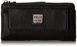 Relic Bryce Checkbook Wallet Black Pebble