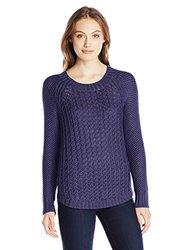 Calvin Klein Jeans Women's Core Texture Mixed Crew - Blue - Size: XL
