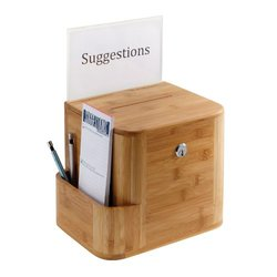 """Safco Bamboo Suggestion Box - Natural - Size: 10""""x8""""x14"""""""