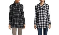 Yoki Women's Plaid Double Breasted Collar Coat - Black/Off-White - Size: M