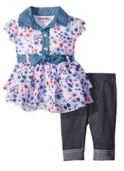 Little Lass Little Toddler Girls 2 PC Floral Disco Dot Capri Set - Size: 6