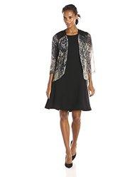 S.L. Fashions Women's Leather Trim Jacket Dress - Black/Grey - Size: 16