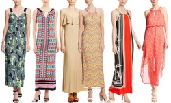 Emma & Michele Women's Printed Halter Maxi Dress - Red - Size: 2XL