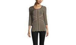 Cable & Gauge Women's Scoop Neck Stripe Top Knits & Tees - B/H - Size: M