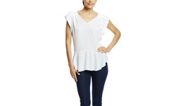 Spense Women's V-Neck Tank with Pleat & High-Low Hem - White - Size: M