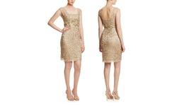 Sue Wong Women's Lace Square Neckline Cocktail Dress - Beige - Size: 8