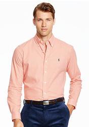 Polo Ralph Lauren Men's Gingham Twill Shirt - Orange/White - Size: Medium