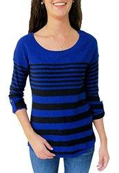 Hannah Juniors Varied Stripe 3/4 Sleeve Fashion Sweater - Black - Size: S