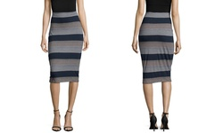 Press Women's Reversible Stripe & Solid Midi Skirt - Multi - Size: XS