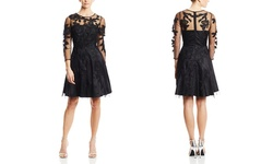 Decode 1.8 Women's Illusion Sleeve Fit & Flare Dress - Black - Size: 6